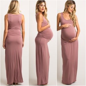 EUC - Mauve maternity maxi dress
